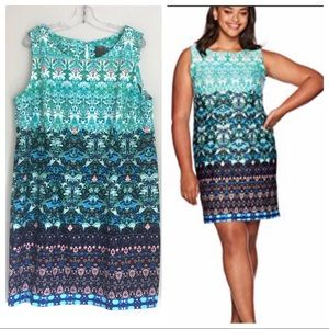 Taylor Woman Mixed Print Scuba Sheath Knit Dress